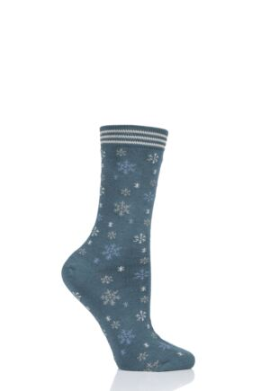 Ladies 1 Pair Thought Snowflake Bamboo and Organic Cotton Socks