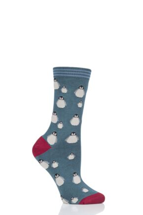 Ladies 1 Pair Thought Penguin Bamboo and Organic Cotton Socks