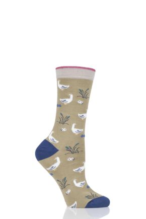 Ladies 1 Pair Thought Goosey Lucy Bamboo and Organic Cotton Socks Pear Green 4-7 Ladies