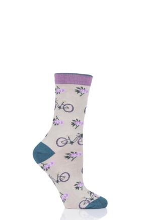 Ladies 1 Pair Thought Bicycle Bamboo and Organic Cotton Socks Cream 4-7 Ladies