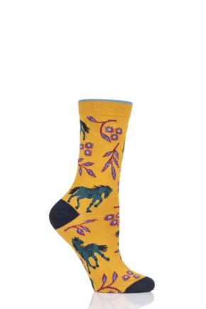Ladies 1 Pair Thought Filly Bamboo and Organic Cotton Socks Mustard 4-7 Ladies