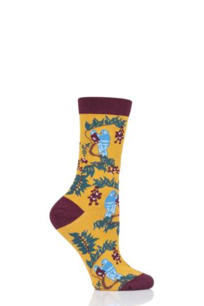 Ladies 1 Pair Thought Love Bird Bamboo and Organic Cotton Socks Mustard 4-7 Ladies