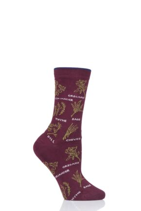 Ladies 1 Pair Thought Herby Bamboo and Organic Cotton Socks Bilberry 4-7 Ladies
