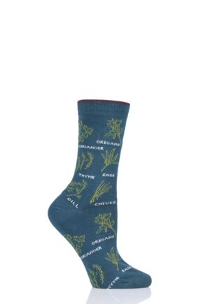 Ladies 1 Pair Thought Herby Bamboo and Organic Cotton Socks Deep Teal 4-7 Ladies