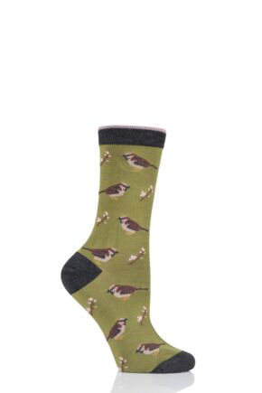 Ladies 1 Pair Thought British Birds Bamboo and Organic Cotton Socks