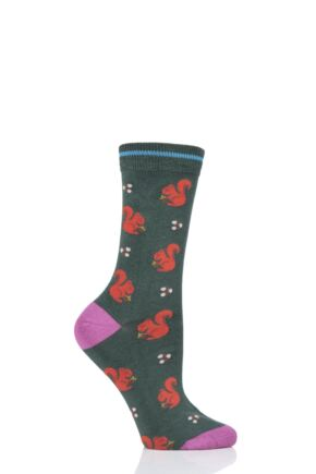 Ladies 1 Pair Thought Squirrel Bamboo and Organic Cotton Socks Forest Green 4-7 Ladies