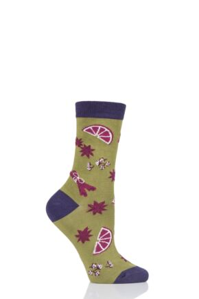 Ladies 1 Pair Thought Winter Spices Bamboo and Organic Cotton Socks Herb Green 4-7 Ladies