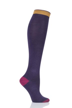 Ladies 1 Pair Thought Plain Bamboo and Organic Cotton Knee High Socks Royal Purple 4-7 Ladies