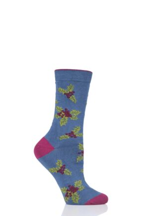 Ladies 1 Pair Thought Christmas Foliage Bamboo and Organic Cotton Socks