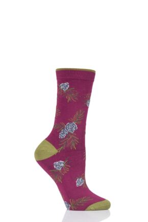 Ladies 1 Pair Thought Christmas Foliage Bamboo and Organic Cotton Socks Redcurrant 4-7 Ladies