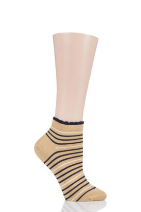 Ladies 1 Pair Thought Lorraine Stripe Bamboo and Organic Cotton Trainer Socks
