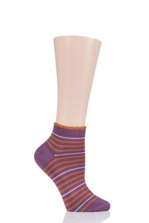 Ladies 1 Pair Thought Lorraine Stripe Bamboo and Organic Cotton Trainer Socks Tulip Purple 4-7 Ladies