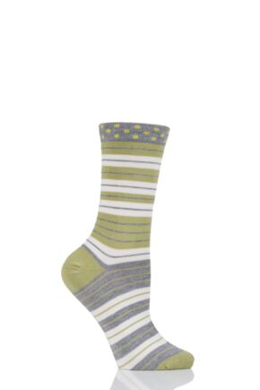 Ladies 1 Pair Thought Addie Stripe Bamboo and Organic Cotton Socks Pea Green 4-7 Ladies