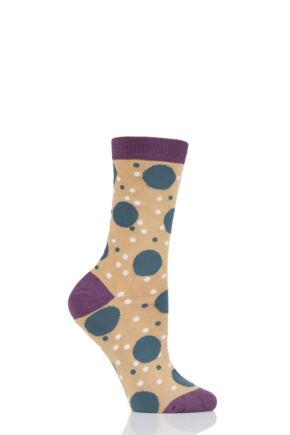 Ladies 1 Pair Thought Mamie Spot Bamboo and Organic Cotton Socks Buttercup 4-7 Ladies