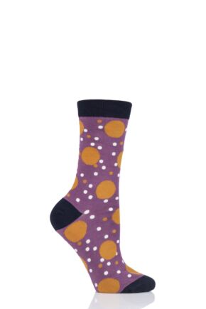 Ladies 1 Pair Thought Mamie Spot Bamboo and Organic Cotton Socks Tulip Purple 4-7 Ladies