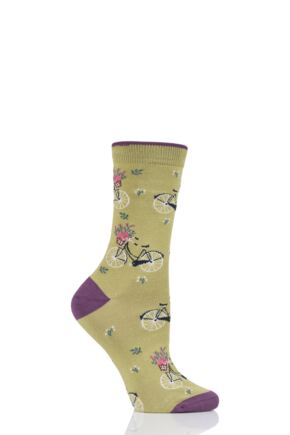 Ladies 1 Pair Thought Bicicletta Bicycle Bamboo and Organic Cotton Socks Pea Green 4-7 Ladies