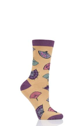 Ladies 1 Pair Thought Mildred Fan Bamboo and Organic Cotton Socks Buttercup 4-7 Ladies