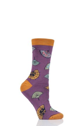 Ladies 1 Pair Thought Mildred Fan Bamboo and Organic Cotton Socks Tulip Purple 4-7 Ladies