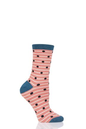Ladies 1 Pair Thought Hope Spot and Stripe Bamboo and Organic Cotton Socks Apricot 4-7 Ladies