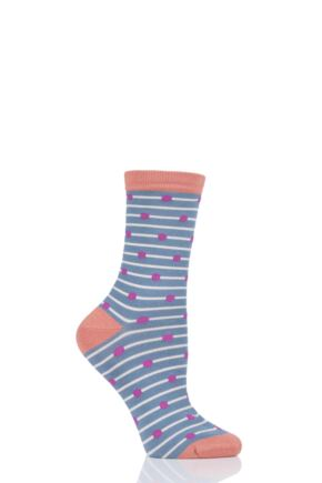 Ladies 1 Pair Thought Hope Spot and Stripe Bamboo and Organic Cotton Socks