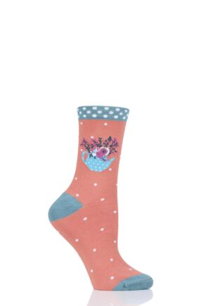 Ladies 1 Pair Thought Floral Pot Bamboo and Organic Cotton Socks Apricot 4-7 Ladies