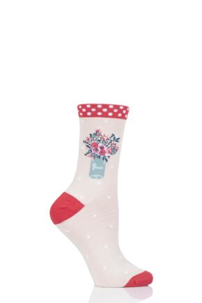 Ladies 1 Pair Thought Floral Pot Bamboo and Organic Cotton Socks Cream 4-7 Ladies
