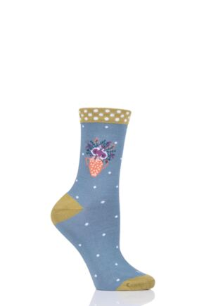 Ladies 1 Pair Thought Floral Pot Bamboo and Organic Cotton Socks