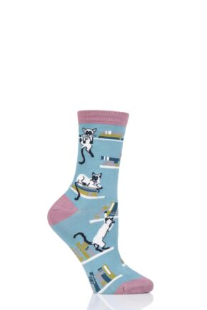 Ladies 1 Pair Thought Gatto Cats Bamboo and Organic Cotton Socks