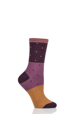 Ladies 1 Pair Thought Mercy Dots and Block Bamboo and Organic Cotton Socks