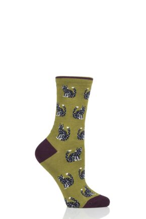 Ladies 1 Pair Thought Kitty Cat Bamboo and Organic Cotton Socks Lichen 4-7 Ladies