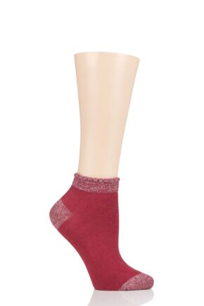 Ladies 1 Pair Thought Glister Bamboo and Organic Cotton Trainer Socks Coral Red 4-7 Ladies