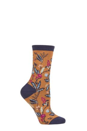 Ladies 1 Pair Thought Margery Floral Bamboo and Organic Cotton Socks