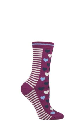 Ladies 1 Pair Thought Eileen Hearts Bamboo and Organic Cotton Socks
