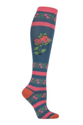 Ladies 1 Pair Thought Denise Floral Bamboo and Organic Cotton Knee High Socks