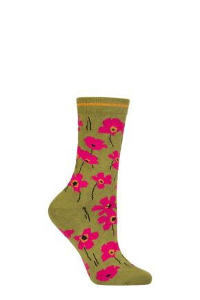 Ladies 1 Pair Thought Peggie Floral Bamboo and Organic Cotton Socks