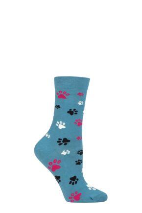 Ladies 1 Pair Thought Elsa Paw Print Organic Cotton Socks