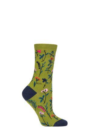 Ladies 1 Pair Thought Mondie Floral Organic Cotton Socks