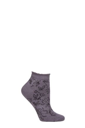 Ladies 1 Pair Thought Gollie Floral Bamboo and Organic Cotton Trainer Socks Slate Grey 4-7 Ladies