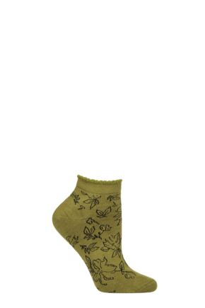 Ladies 1 Pair Thought Gollie Floral Bamboo and Organic Cotton Trainer Socks