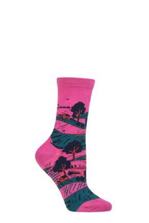 Ladies 1 Pair Thought Evetta Landscape Organic Cotton Socks