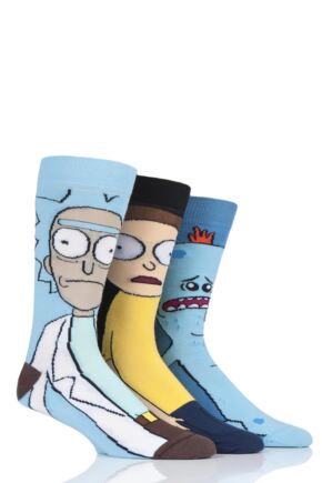 Mens 3 Pair Rick and Morty Cotton Socks