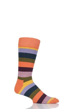 Mens and Ladies 1 Pair Happy Socks Stripe Combed Cotton Socks Orange 4-7 Unisex