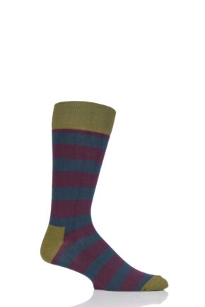 Mens and Ladies 1 Pair Happy Socks Stripe Combed Cotton Socks Purple  7.5-11.5 Unisex