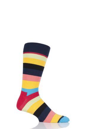 Mens and Ladies 1 Pair Happy Socks Stripe Combed Cotton Socks Navy 4-7 Unisex
