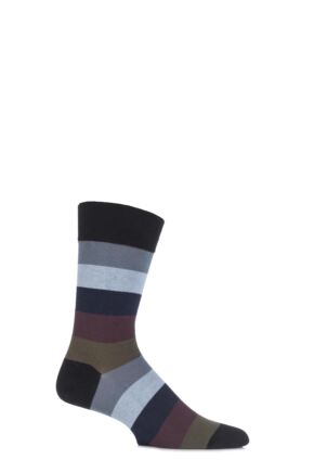 Mens 1 Pair J. Alex Swift Multi Striped Fine Cotton Socks