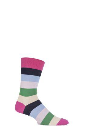 Mens 1 Pair J. Alex Swift Multi Striped Fine Cotton Socks Pink 7-11