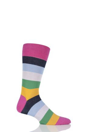 Mens 1 Pair J. Alex Swift Multi Striped Fine Cotton Socks Pink Multi 7-11