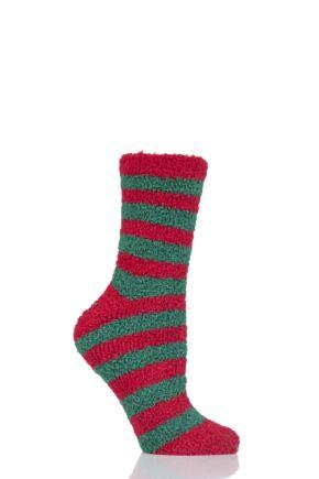Ladies 1 Pair SockShop Christmas Novelty Socks Green Stripe 4-8