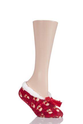 Ladies 1 Pair SockShop Fleece Christmas Slippers