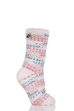 Ladies 1 Pair SockShop Snugsoles Chunky Fleece Lined Slipper Socks Pink 4-8